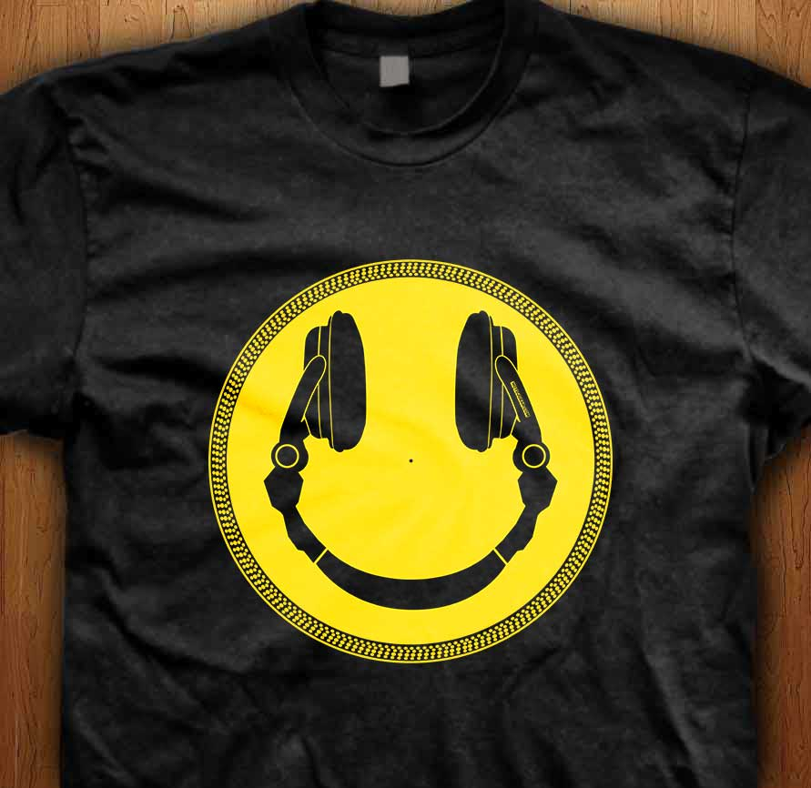 Dj headphone smiley platter t shirt Dj t shirt design